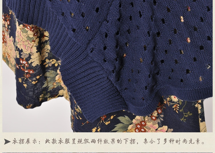 Autumn Winter Women shirt Plus Size Knitted Two-piece suit blouse Casual Print Patchwork Pullover Sweater Tops 43