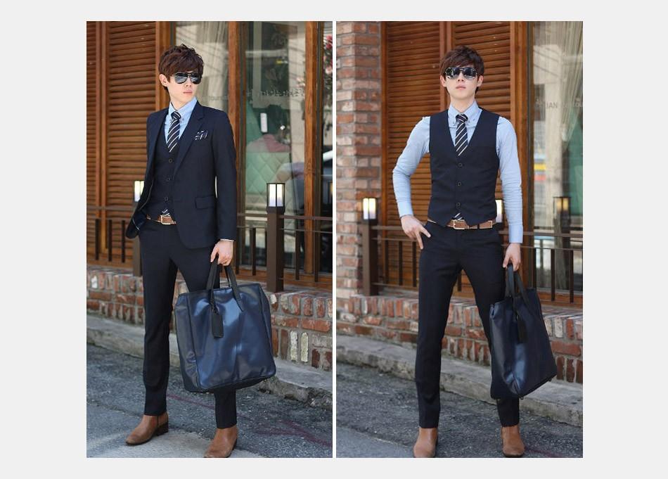 (Kurtka + Spodnie + Tie) luksusowe Mężczyzn Garnitur Mężczyzna Blazers Slim Fit Garnitury Ślubne Dla Mężczyzn Kostium Biznes Formalne Party Niebieski Klasycznej Czerni 20