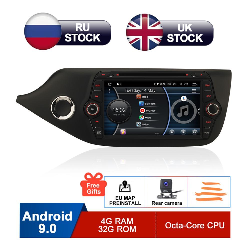 8 IPS Android 9.0 Car DVD For Kia Ceed 2013 2014 2015 2016 2017 Auto Radio FM RDS WiFi GPS Navigation Audio Video Backup Camera
