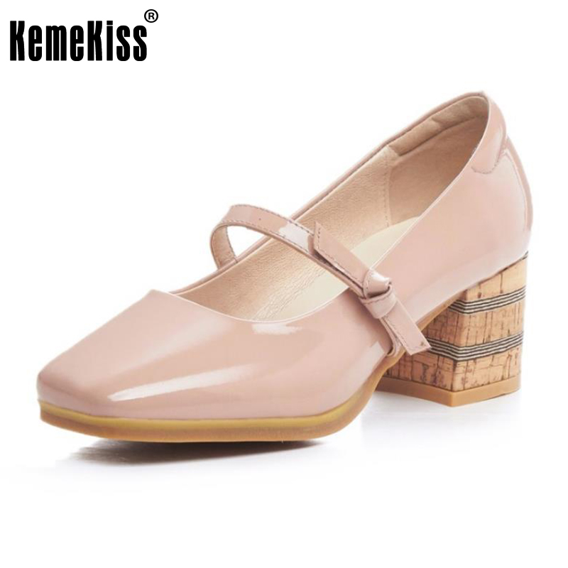 KemeKiss Size 34-39 Ladies Genuine Leather Thick High Heels Pumps Women Square Toe Mary Jane Shoes Women Sweety Pumps Footwear