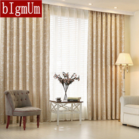 BIgmUm Curtains Silver Leaves Chenille Jacquard High Grade Luxurious Curtain For Living Room Window Custom Size
