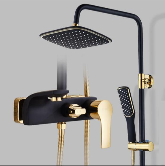 Роскошная ванная комната смеситель для душа набор расписных черный и золотой Кран для ванной смесителя Водопад стены Для Душа Душ коснитес...