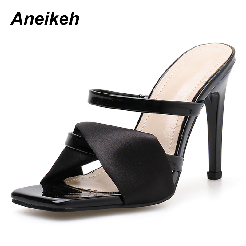 Aneikeh 2019 Summer New Ladies Slippers Fashion Sexy Square Head Satin Open Toe Strap With Stiletto High Heel Ladies SlippersAneikeh 2019 Summer New Ladies Slippers Fashion Sexy Square Head Satin Open Toe Strap With Stiletto High Heel Ladies Slippers