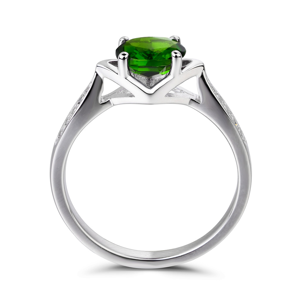Details about  /Chrome Diopside Gemstone Engagement Ring 925 Sterling Silver Rose Color