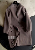 Double Face Wool Cashmere Blend Women S Fashion Oevrcoat Solid Color Stand Collar Cocoon Version Wide