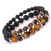 2pcs/set  Natural Stone Stainless Steel Tiger Eye Beads Buddha Bracelets for Women Men Couple Charm Bracelet Jewelry Gift 2019