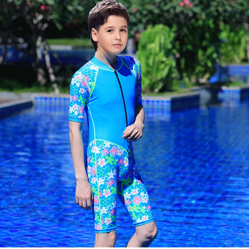 ФОТО New Big Boys Swimsuit Diving Suit All Seasons Cool Floral One Piece UV Protection Super Elasticity Quick Dry Chlorine with Zip
