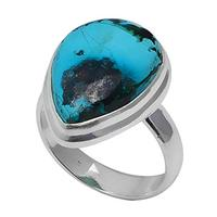 Genuine Turquoise Ring 925 Sterling Silver,USA Size :7.75, 2SR0279