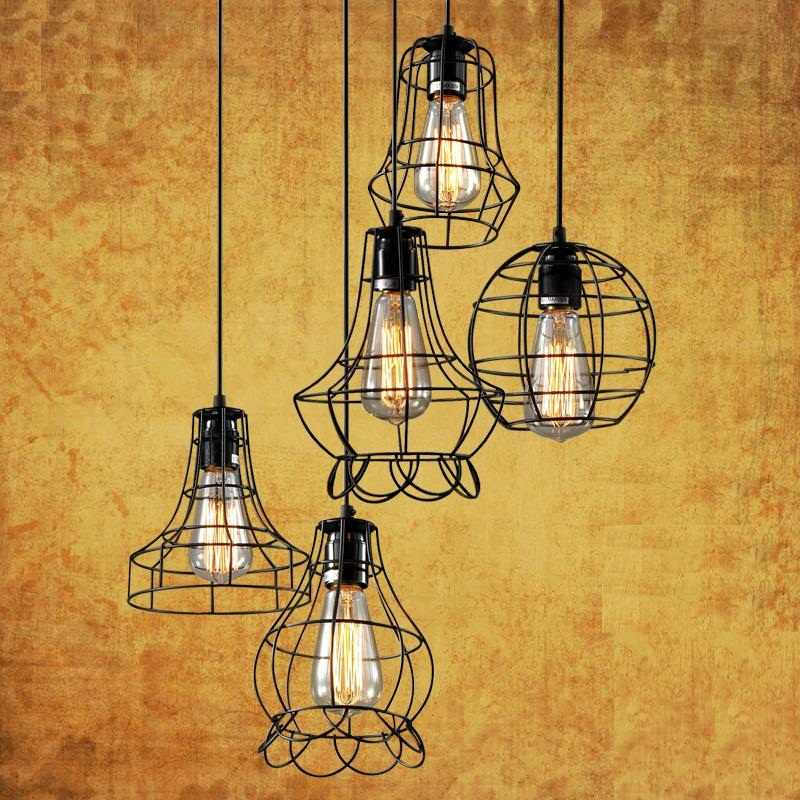 5 Огни сарай металлическая люстра Макс 200 Вт с черной отделкой, кулон набор ламп для декорации для столовой 220 ~ 240 V E27