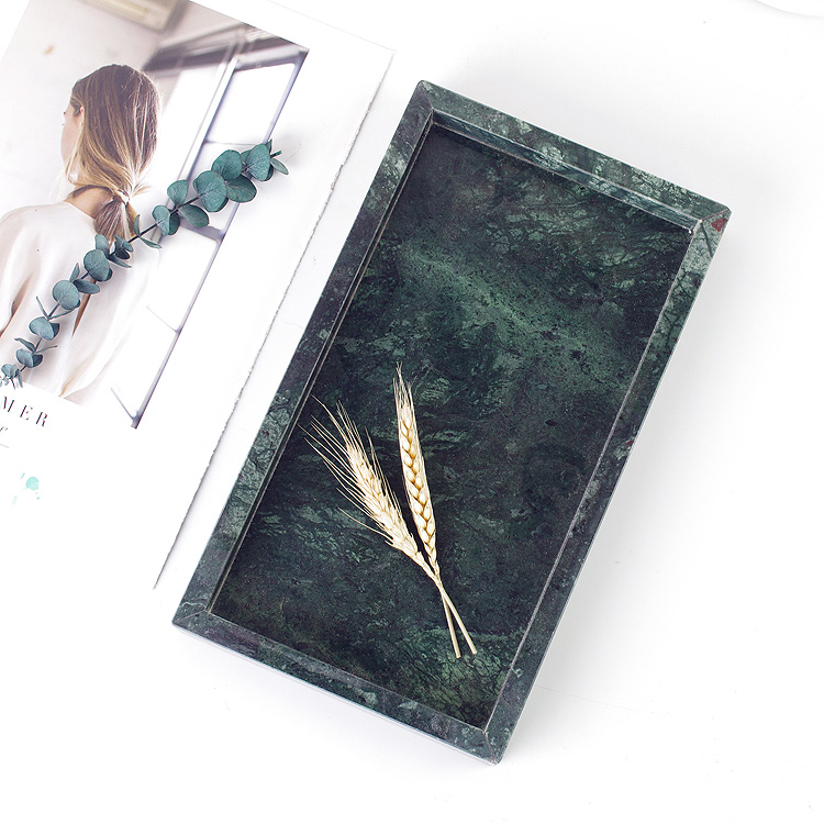 Rectangular Natural Stone Marble Serving Tray Showing Plate Green Marble Plate