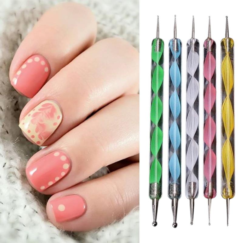 5 Pcs 2 Way Dotting Tools Kit Marbling Tool Nail Art Dotticure Tool ...