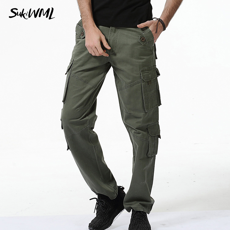 SUKIWML 2017 New Mens Cargo Pants Multi Pocket Military 100% Cotton Long Trousers Casual ...
