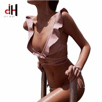 DA HAI Brand Bikinis Women 2017 Europe And The United States New Printed Striped Swimsuit Sexy