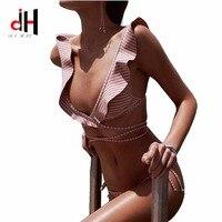 DA HAI Brand Bikinis Women 2017 Europe And The United States New Printed Striped Swimsuit Sexy