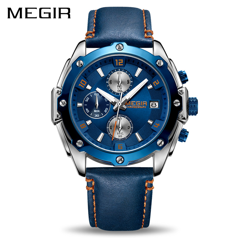 MEGIR Chronograph Men Watch Relogio Masculino Blue Leather Business Quartz Watch Clock Men Creative Army Military Wrist Watches