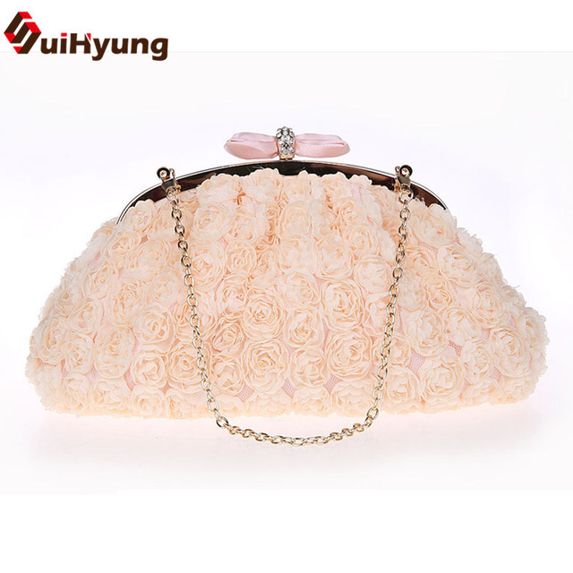 Free Shipping New Women's Flowers Handbags High Quality Lace Flowers Party Evening Bag Wedding Clutch Bags Purse Chain Crossbody