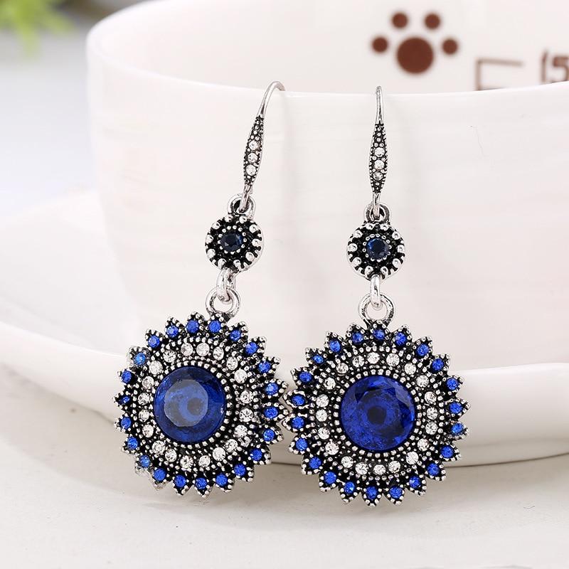 New Retro Bohemian Earrings for Women Green Sunflower Earrings Statement Ear Jewelry Exquisite Gift Wholesale Free Shipping in Drop Earrings from Jewelry Accessories