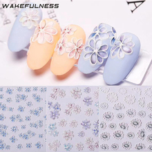 WAKEFULNESS 1Sheet Flowers Self-Adhesive 5D Nail Art Stickers Decals Acrylic Embossed 3D Sticker Manicure Decorations
