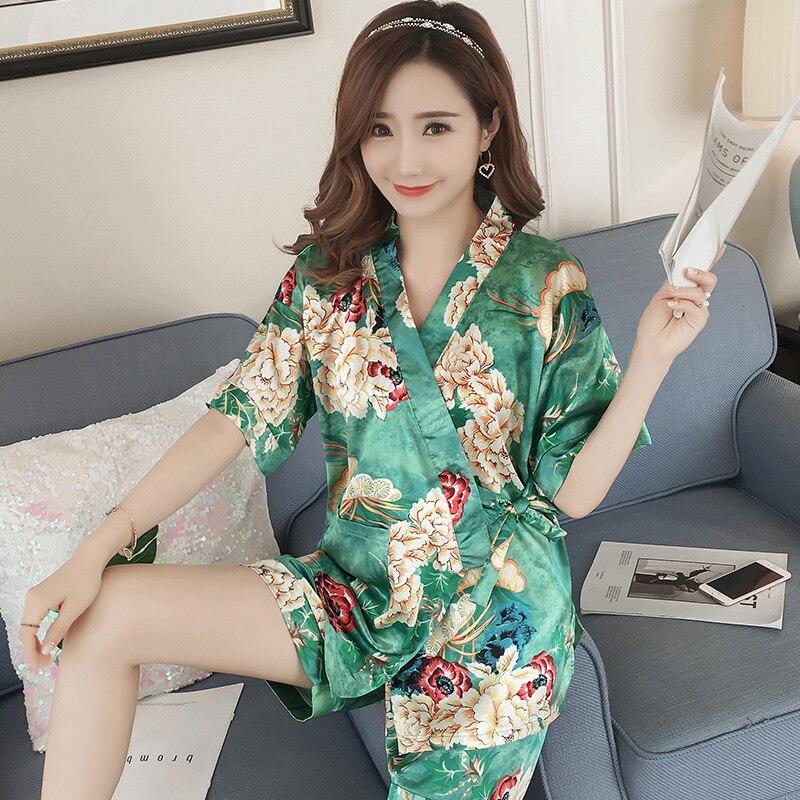 2019 Summer Short Sleeve Silk Satin Kimono   Pajama     Sets   for Women V-neck Pyjama Shorts Sleepwear Loungewear Homewear Pijama Mujer