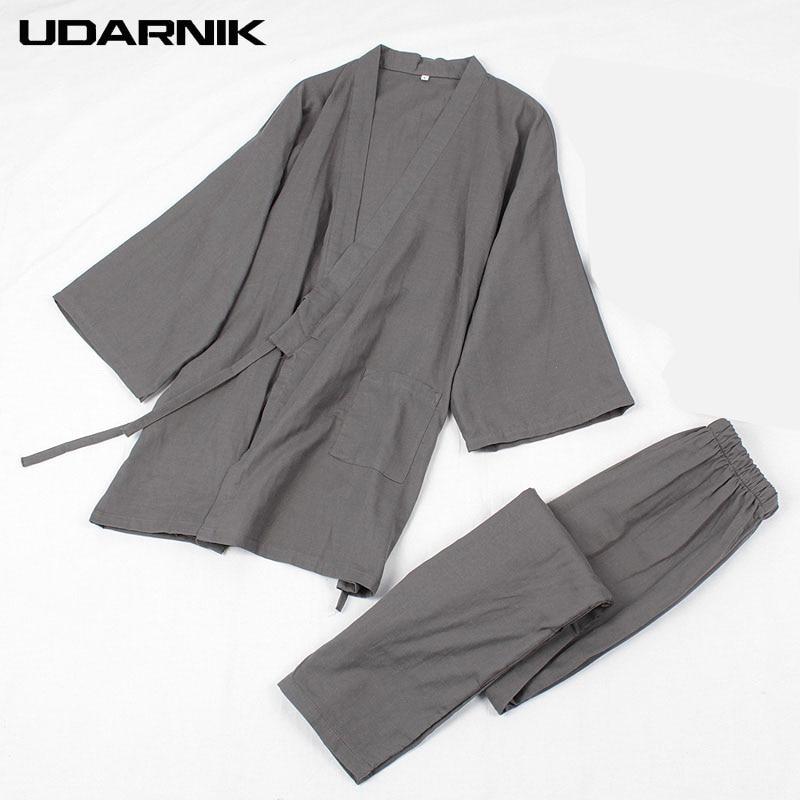 Men Cotton Jpan Kimono Robe Sets Pajamas Tops& Pants Elastic Waist Long Trousers Sleepwear Homewear Nightwear 901-241 ...