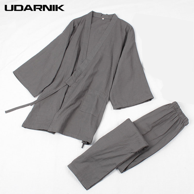 Men Cotton Jpan Kimono Robe Sets Pajamas Tops& Pants Elastic Waist Long Trousers Sleepwear Homewear Nightwear 901-241