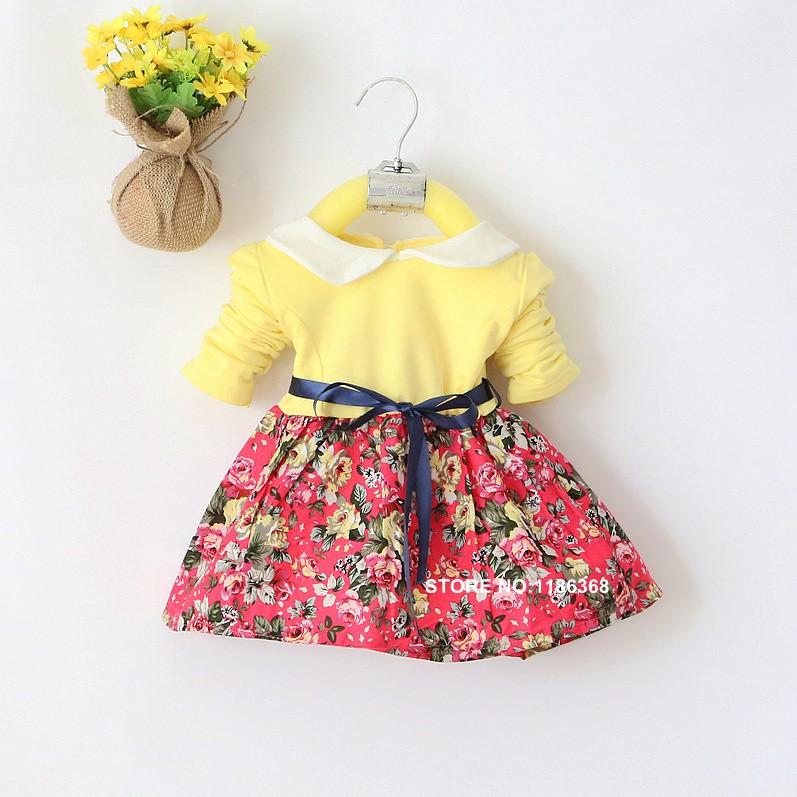 1b8bde108 4M 24M Hot Selling girls dresses printed flower long sleeve spring ...