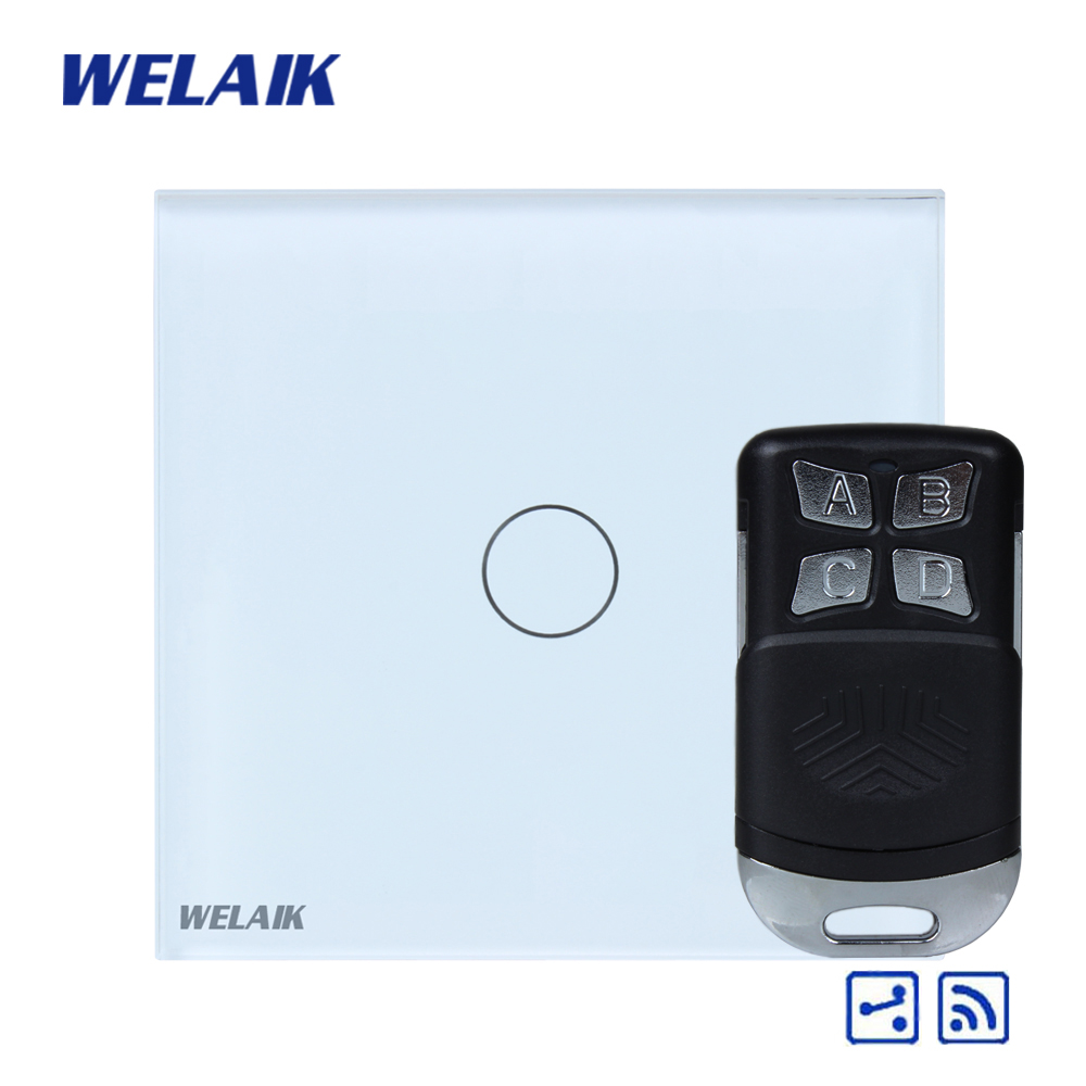 WELAIK Glass Panel Switch White Wall Switch EU remote control Touch Switch  Light Switch 1gang2way AC110~250V A1914CW/BR01 2017 smart home crystal glass panel wall switch wireless remote light switch us 1 gang wall light touch switch with controller