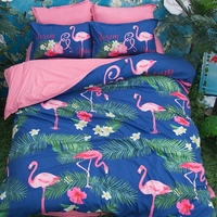 flamingo bedding pink and green comforter set single twin queen king size 3/4PC bed spread animal duvet cover kids home textile