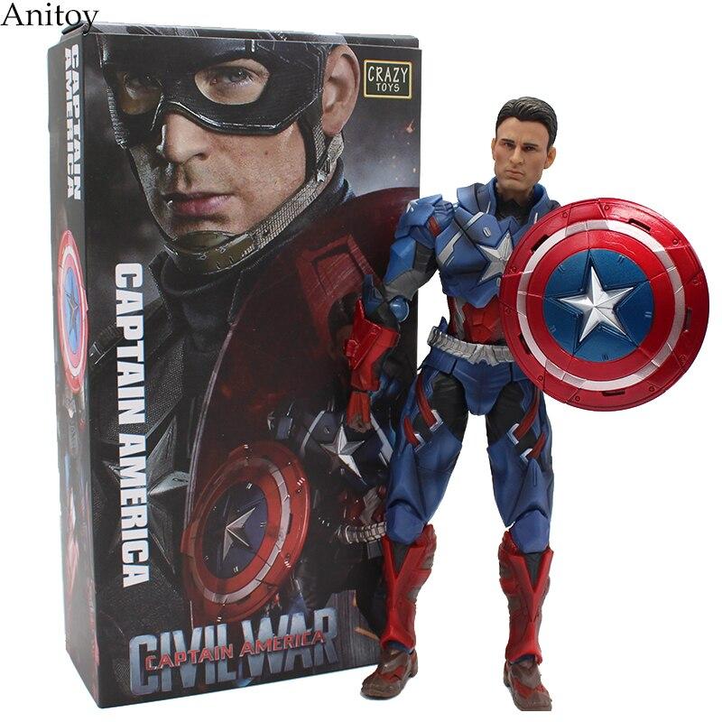 Avengers 3  Captain America CRAZY TOYS  PVC Action Figure Collectible Models Toys 25cm  KT2433 saintgi marvel captain america civil war avengers super heroes pvc 25cm action figure collection model toys t625