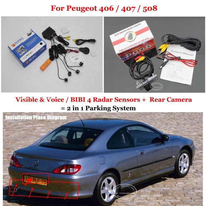 Capteurs de stationnement de voiture Liislee + caméra de recul de vue arrière = système de stationnement d'alarme visuelle 2 en 1 pour Peugeot 406/407/508