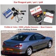 Автомобилей Датчики Парковки + Заднего Вида Резервное Копирование Камеры = 2 в 1 Визуальная Сигнализация Система Для Peugeot 406/407/508