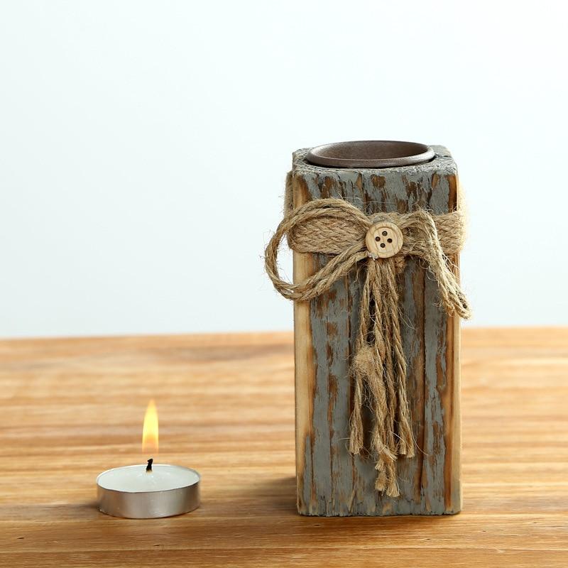 1pc Vintage Design Wooden Square Candle Holder Home Decor