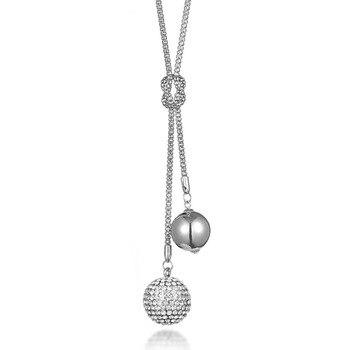 691857736c43 Fanqieliu granos de la bola de plata de diamantes de imitación collar de  las mujeres de moda COLLAR COLGANTE suéter largo cadena para las mujeres  FQL101710