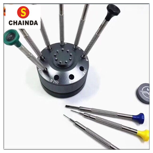 Free Shipping 1 Set Rotating Standing with 9 Ergonomic Screwdrivers for Watch Repair free shipping 1 set 32 pcs large gold steel watch crown kit for watch repair