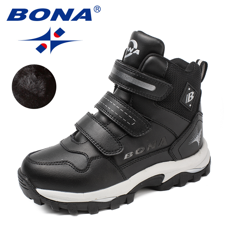 BONA Novo Estilo Clássicos Crianças Dedo Do Pé Redondo Botas Meninos Sapatos Hook & Loop Botas Meninas da Neve do Inverno Confortável Transporte Rápido Livre grátis