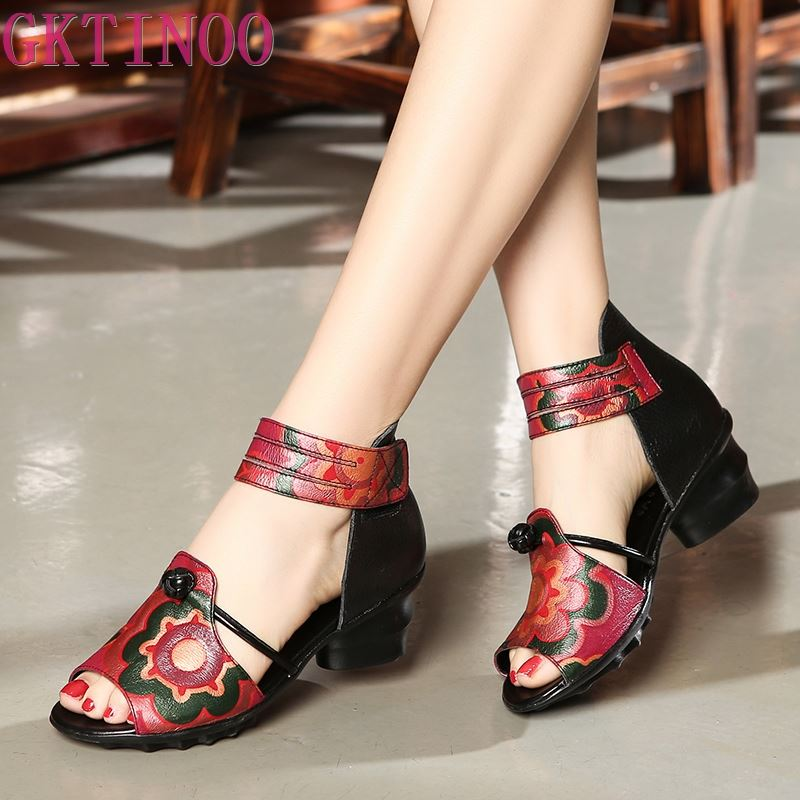 Ethnic Style Summer Genuine Leather Shoes Women Sandals Peep Toe High Heels Print Leather Sandals Ladies