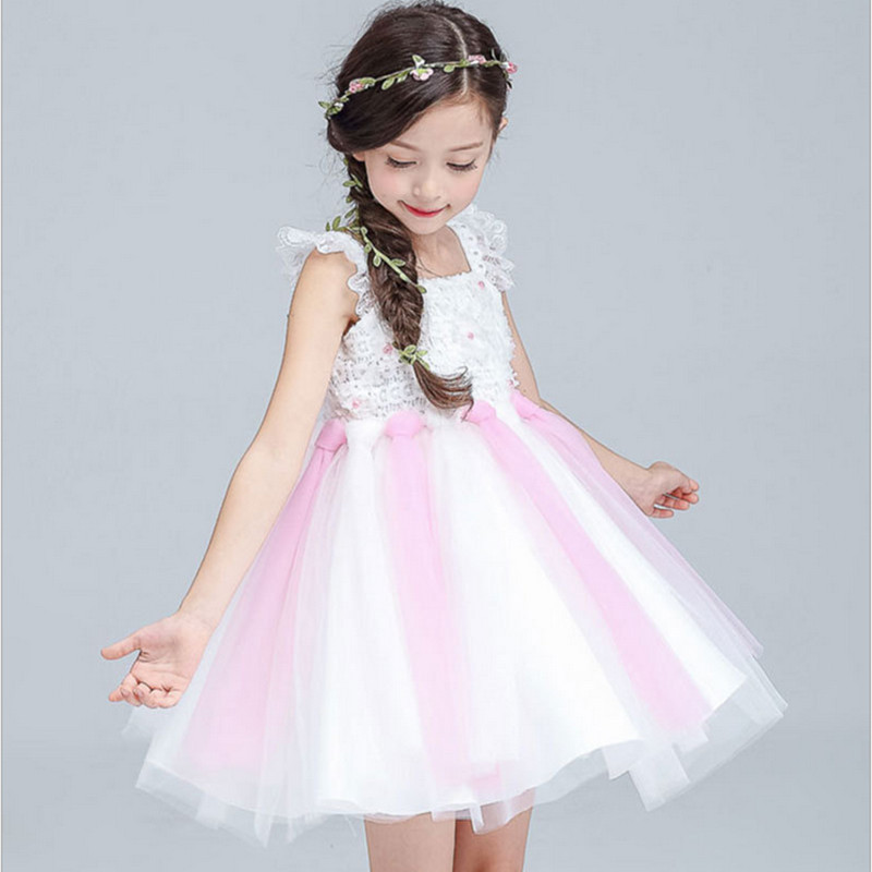 2017 Girls Party Dresses Children Summer Lace Formal Dress Baby 1-8 yrs Birthday Gowns Clothes Kids princess