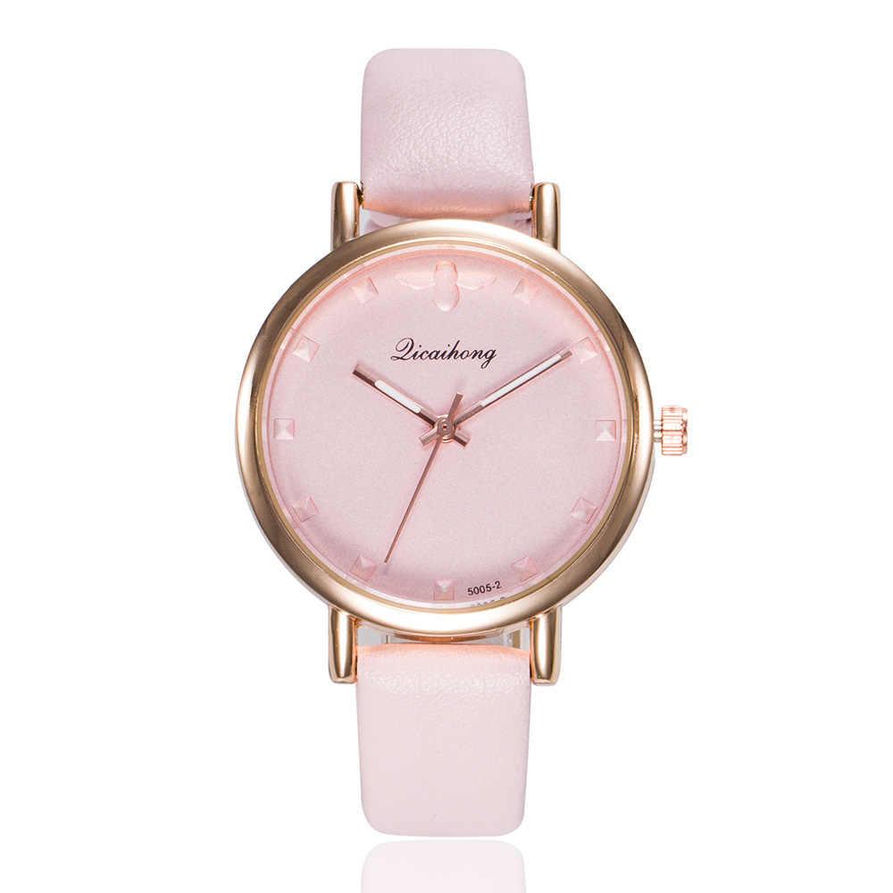 Yeni 2019 Zarif kadın Izle Lüks Gül Altın Deri Casual Bilek Saatler Kadınlar Için Moda quartz saat Bayanlar Saat Hediyeler