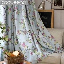 Pájaros y Flores Confeccionadas Cortinas de Encargo para la Sala de estar Dormitorio Cortina Blackout Persianas de Sombra Cortinas de Color Beige y Azul