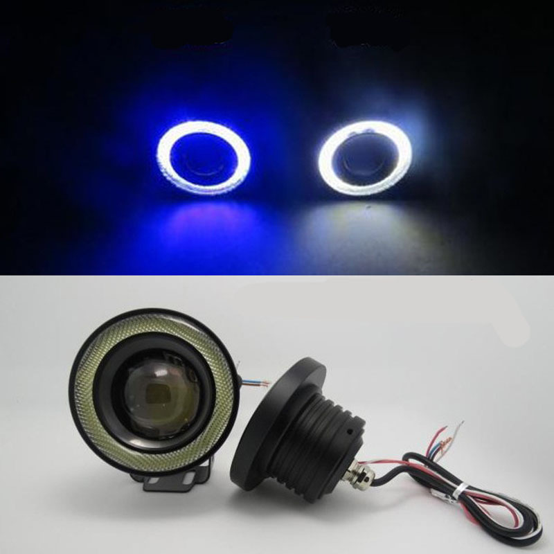 2Pcs/lot Car Fog lights Angel Eyes 64mm 76mm 89mm 3200lm Universal COB LED DRL Driving Lights Fog Lamp Fog Light 12V 30W 2016