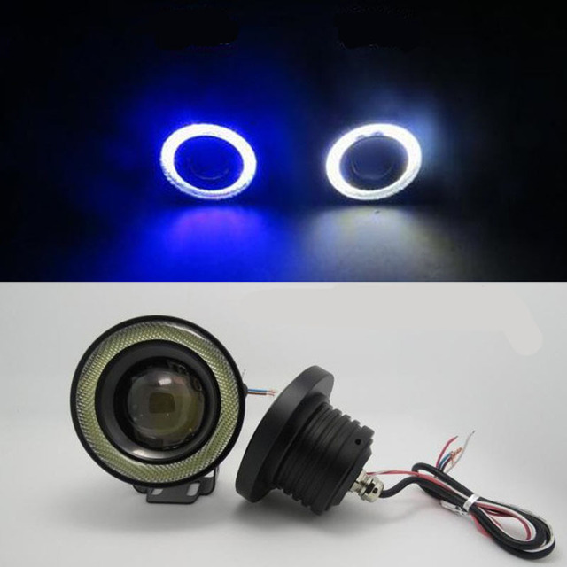 2Pcs/lot Car Fog lights Angel Eyes 64mm 76mm 89mm 3200lm Universal COB LED DRL Driving Lights Fog Lamp Fog Light 12V 30W 2016