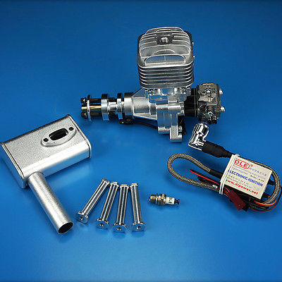 DLE30 Gasoline Engine W/Electronic Igniton & Muffler For 30CC Fix Wing Model Aircraft Model Plane Updated new phoenix 11207 b777 300er pk gii 1 400 skyteam aviation indonesia commercial jetliners plane model hobby