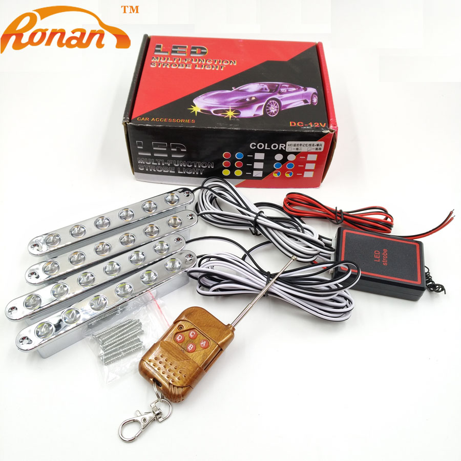 RONAN 4x6led 24 leds strobe light for car with wireless remote controller white Yellow LED DRL daytime running light wireless remote strobe control module universal for led stoplight drl flash controller for car back up fog light 16 patterns