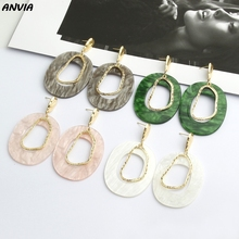 2019 ZA Oval Acrylic Dangle Earrings For Women Acetate Alloy Multi Color Drop Chic Stylish Female Jewelry Dropshipping