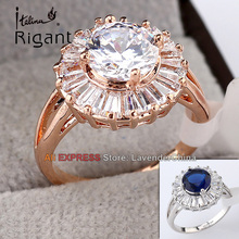 B1-R684 Italina Rigant Simulated Gemstone Fashion Ring CZ 18KGP Jewelry Size 5.5-8