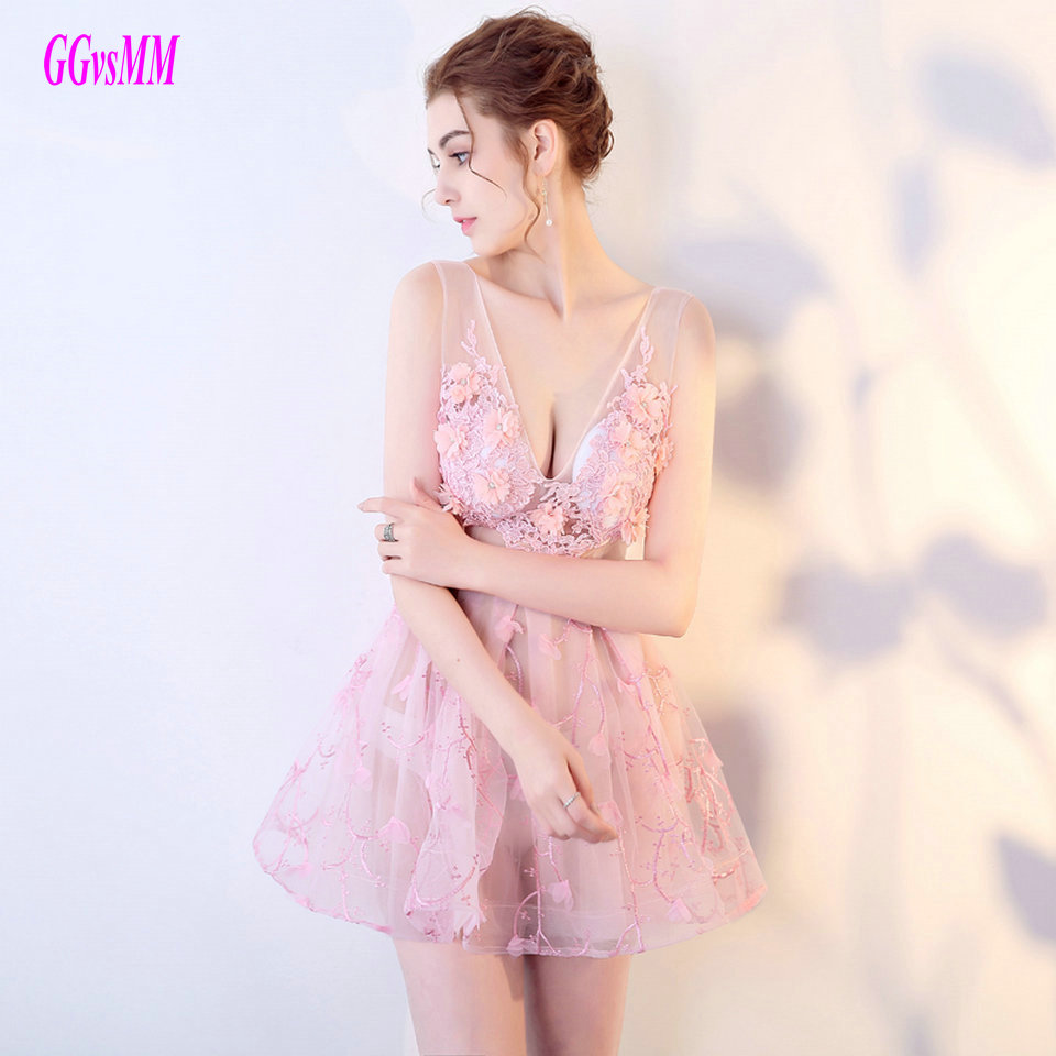 Glamorous Pink   Cocktail     Dresses   2018 Sexy Mini Party Gowns Short night bar clothing V-Neck Lace Transparent   Cocktail     Dress   New