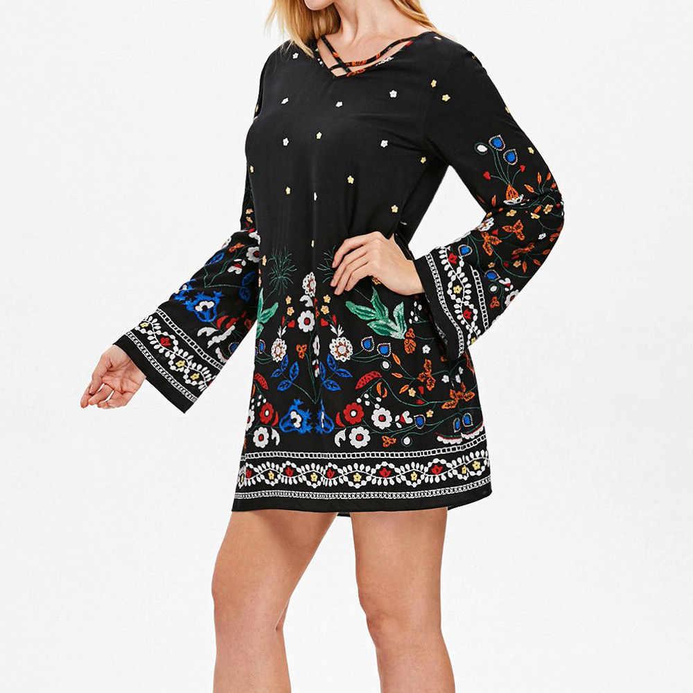 Элегантное женское платье осень 2018 модное с длинным рукавом v-образный вырез цветочный принт Свободный Повседневный мини платье зима vestido #2220