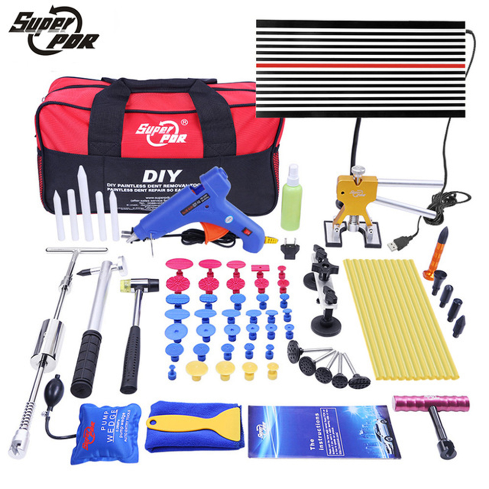 PDR Tools Paintless Dent Repair Tools Dent Removal Car Kit LED Reflector Board Board Dent Puller Lepicí pistole pumpa klín Ruční sada nářadí