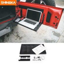 Shineka metal flexível bagageira da porta traseira da bagageira da porta da bagageira prateleira do portador para jeep wrangler jk 2007 2017