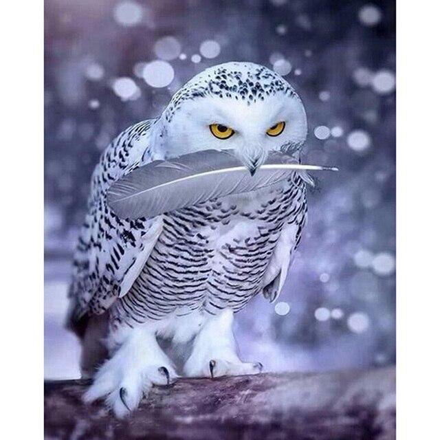 Diy haft z diamentami robótki diament malarstwo mozaika dmc farba zwierzęta śnieg sowa cross-stitch wystrój handwork